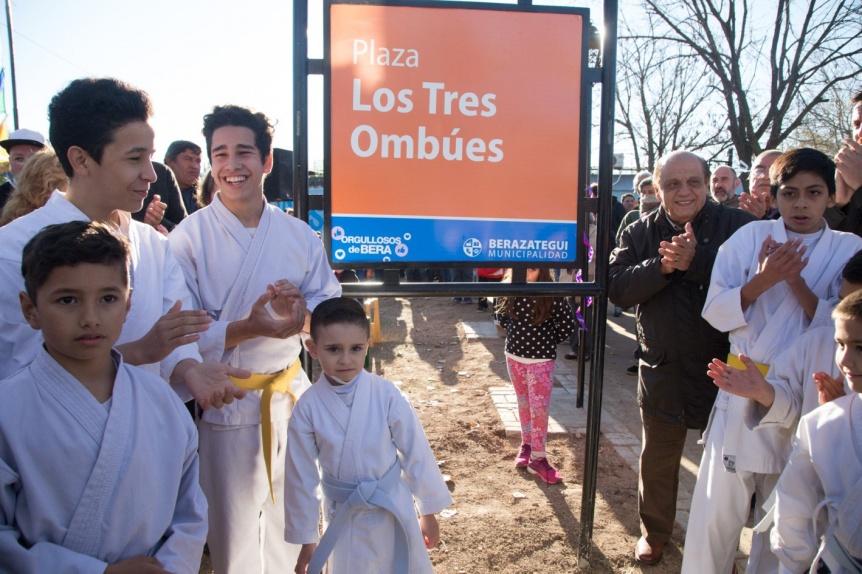 """Renuevan la plaza """"Los 3 ombúes"""" de Hudson con juegos reparados y luces LED"""