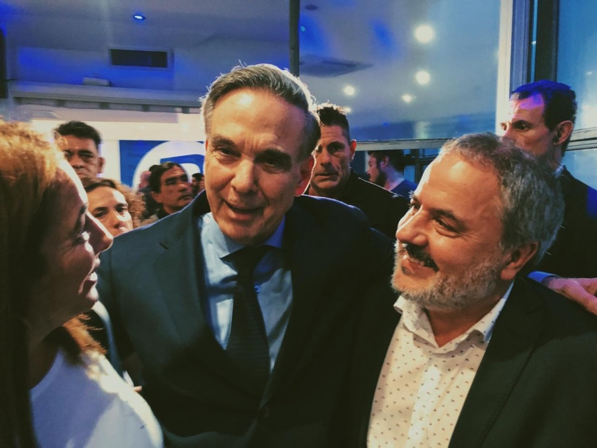 El precandidato Adrián Rodríguez con Pichetto y Marco Lavagna