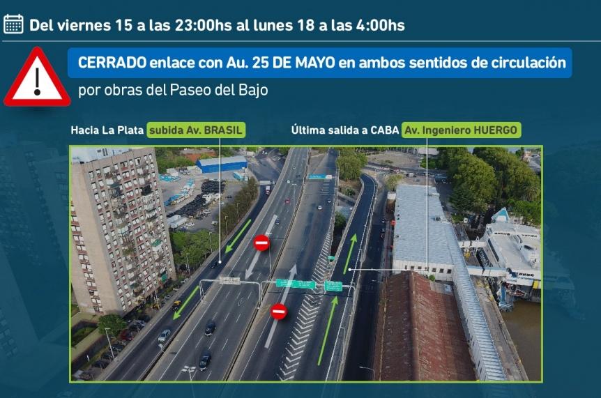 Hasta el lunes estar� cerrado el enlace de la AU Buenos Aires La Plata con la AU 25 de Mayo
