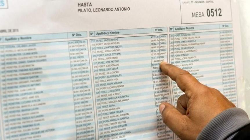 Hay plazo hasta el miércoles para hacer reclamos sobre padrón electoral