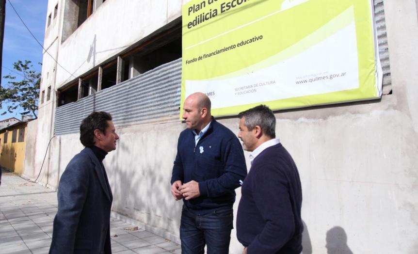 Molina y Zinny visitaron la construcción del nuevo edificio de la Escuela Primaria 46